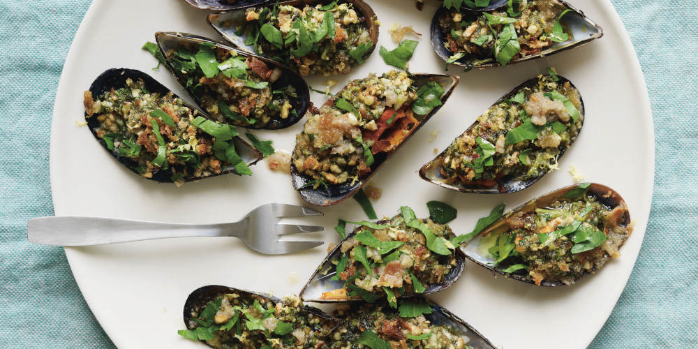 Trish Deseine's Grilled mussels with almond and cilantro pesto