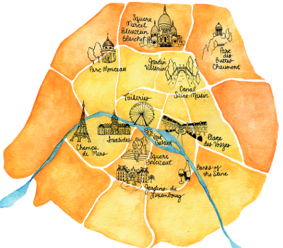 illustration of the best places to picnic in Paris