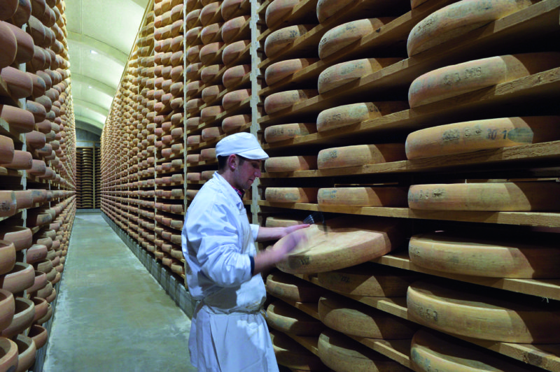 The cellars of Fort Saint-Antoine in Doubs are used to mature 100,000 wheels of Comté cheese.
