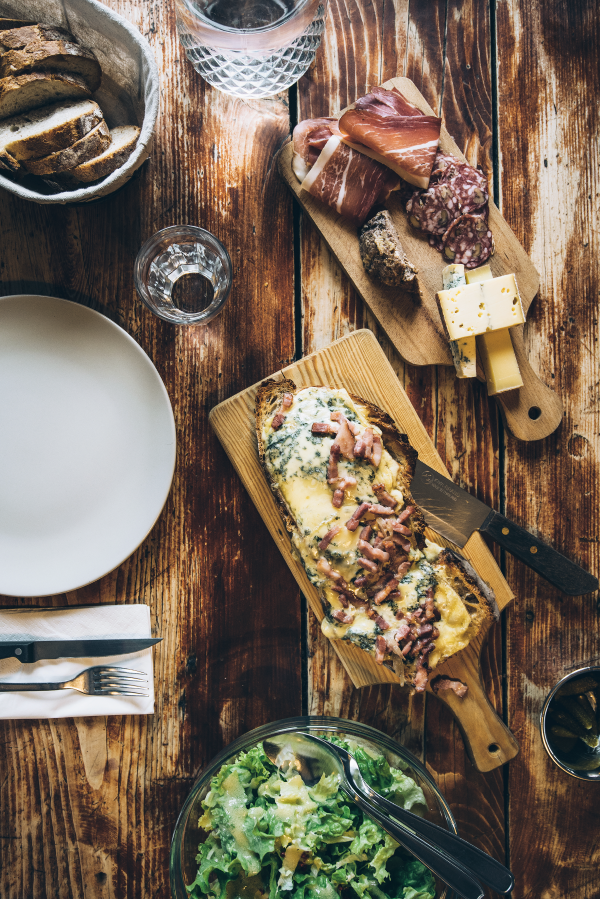 Cheese and charcuterie make for a typical lunch.