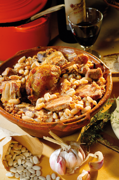 It doesn't get more traditional than a piping hot dish of cassoulet.