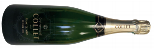 A bottle of collet cuvée blanc de noirs a indulgent French champagne that is rich and generous