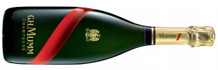 A bottle of mumm grand cordon a French champagne that holds hints of vanilla