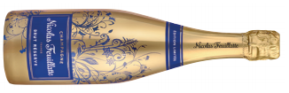 A bottle of nicolas feuillatte brut réserve a French champagne that has sweet apple tones