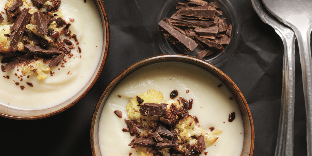 Cauliflower velouté with vadouvan-roasted cauliflower and chocolate