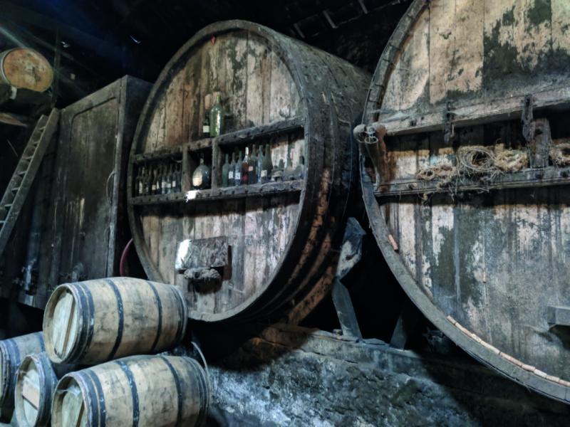 France's first eau-de-vie armagnac distillery barrels