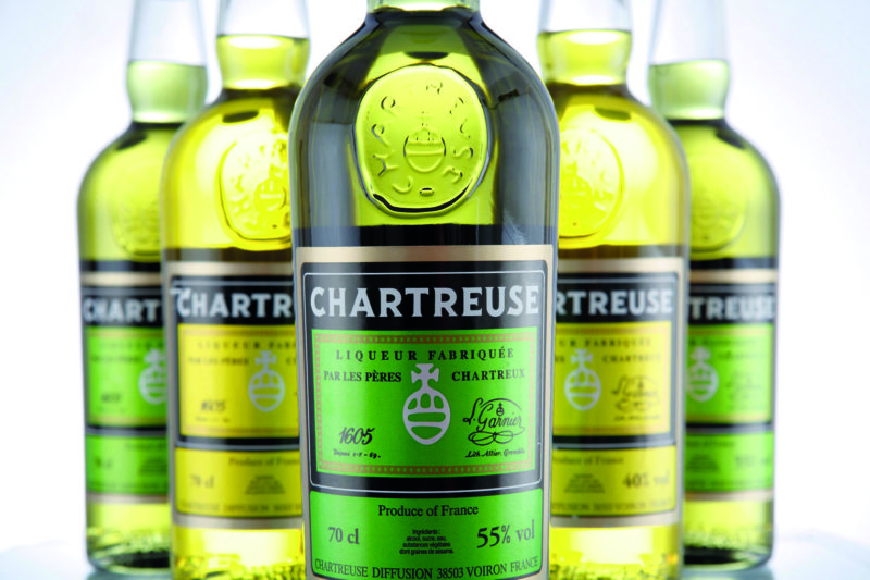 CHARTREUSE liqueur in green and yellow