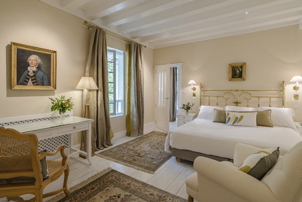 Interior shot of a luxury bedroom in château de bachen in the Nouvelle-Aquitaine region