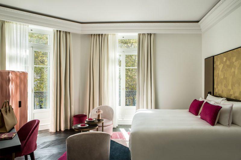 A luxurious double bedroom at Fauchon L'Hôtel Paris