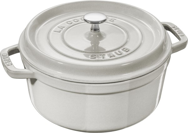 new white truffle cast iron cocotte by STAUB