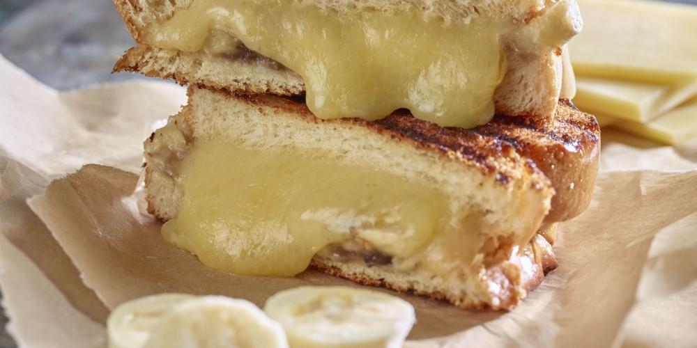 Cheese and banana brioche toasties