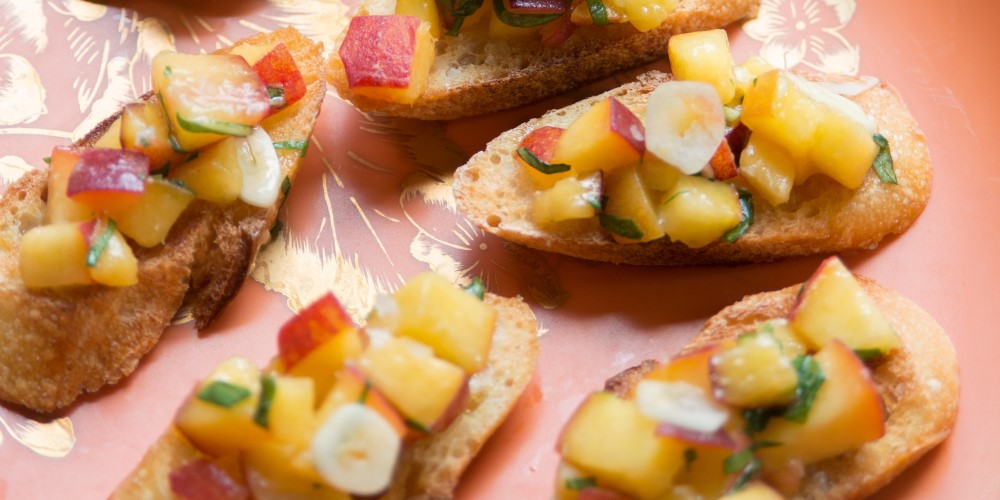 Stone fruit bruschetta