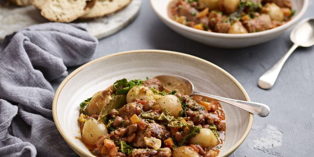 French shallot, Toulouse sausage and borlotti bean stew