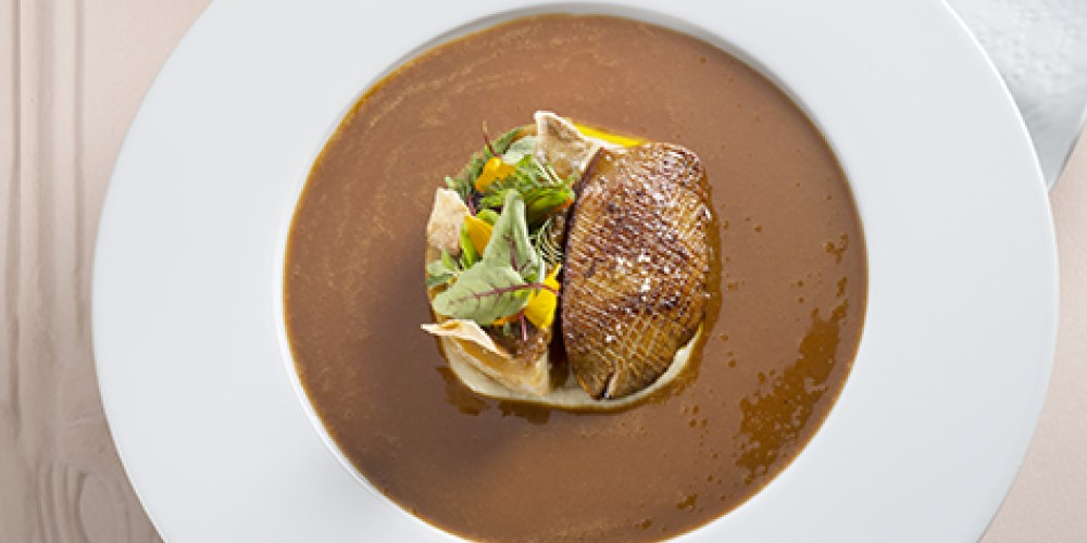Michelin-starred chef Julien Poisot Duck foie gras with stuffed artichokes
