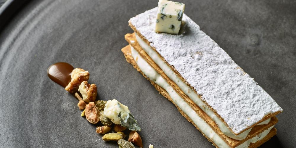 Saint Agur blue cheese mille-feuille
