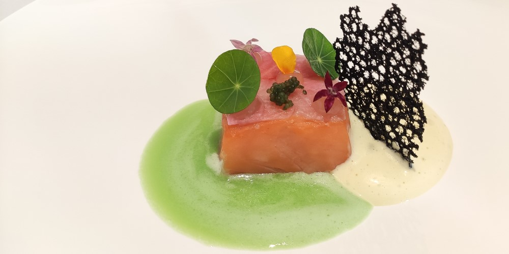 Matthieu Hervé's salmon with pickled radish, horseradish foam and celery and apple sauce
