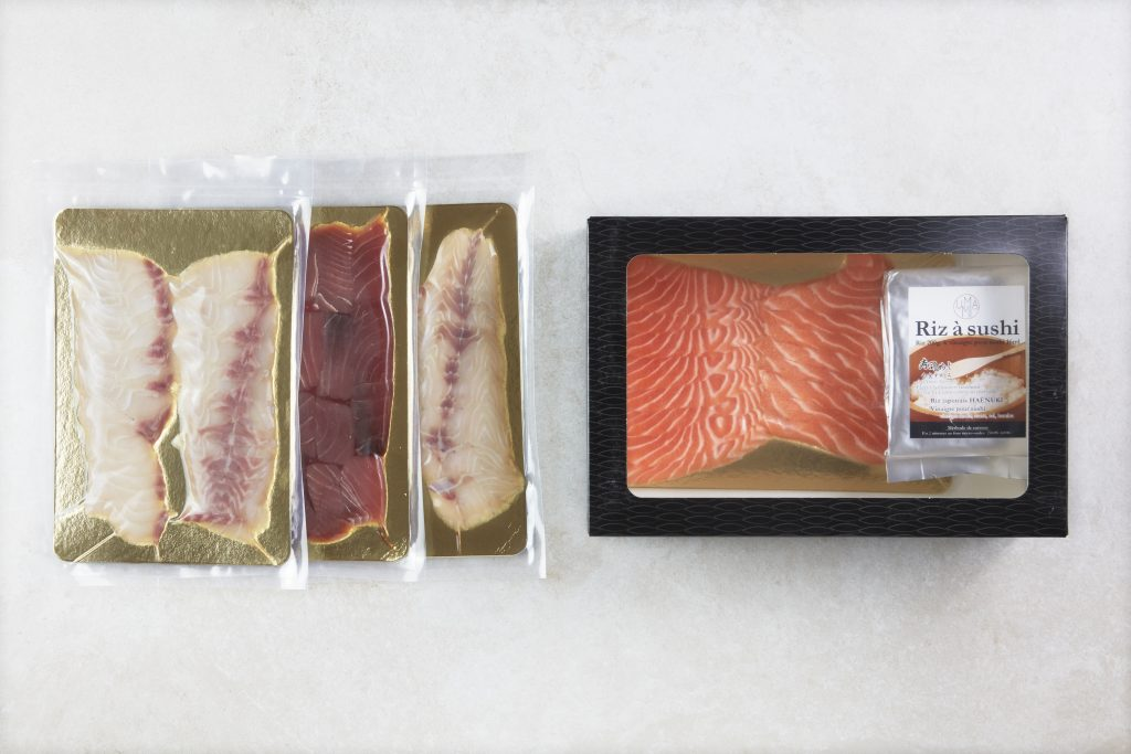Sushi fish and shop box selection