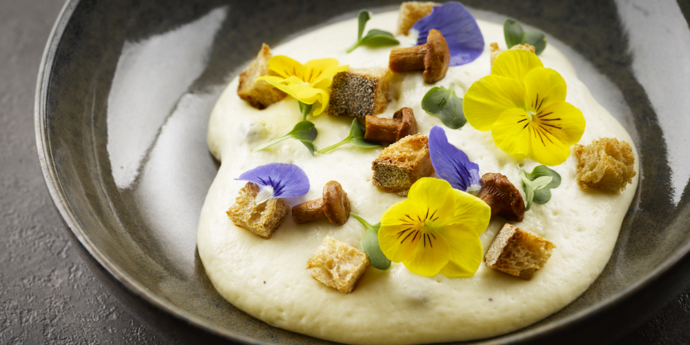Abondance cheese foam and girolles
