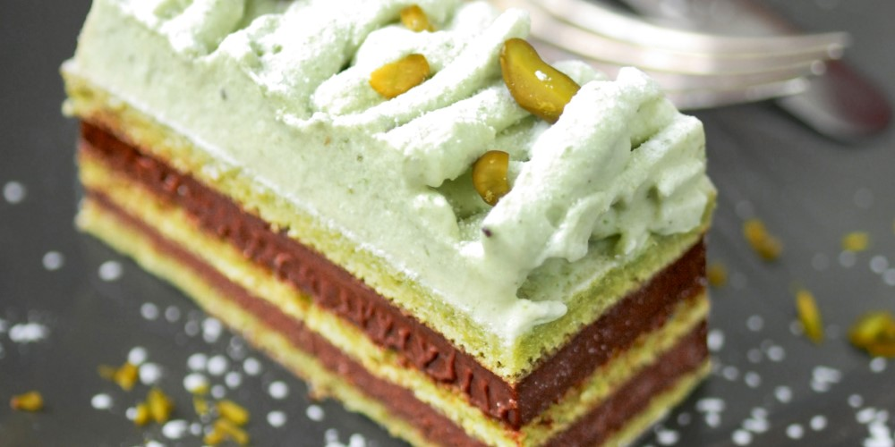 Le Cordon Bleu's chocolate-pistachio opera cake