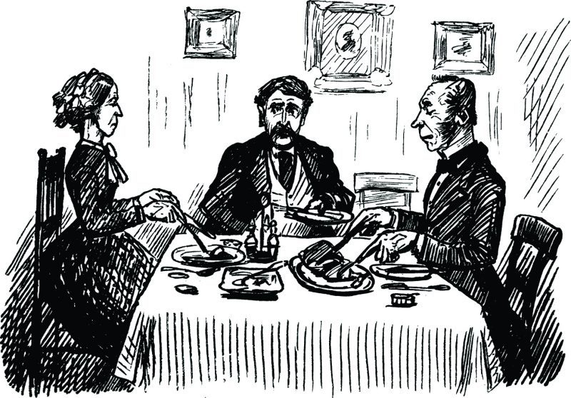 illustration of 2 men and a woman having dinner