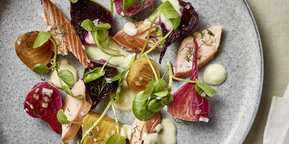 Hot-smoked salmon, beetroot salad and Saint Agur blue cheese dressing