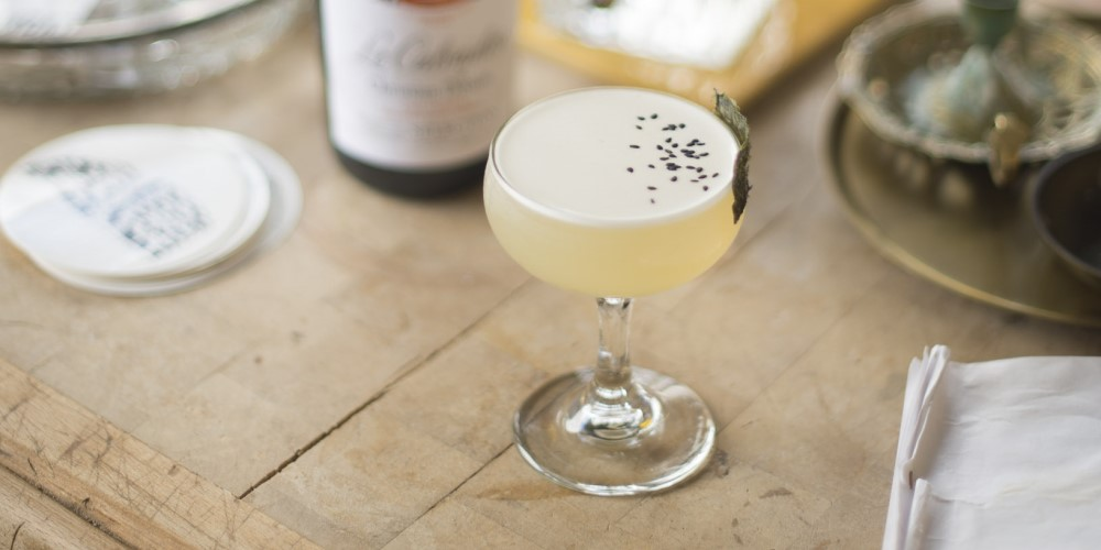 A cocktail of calvados, white radish and seaweed