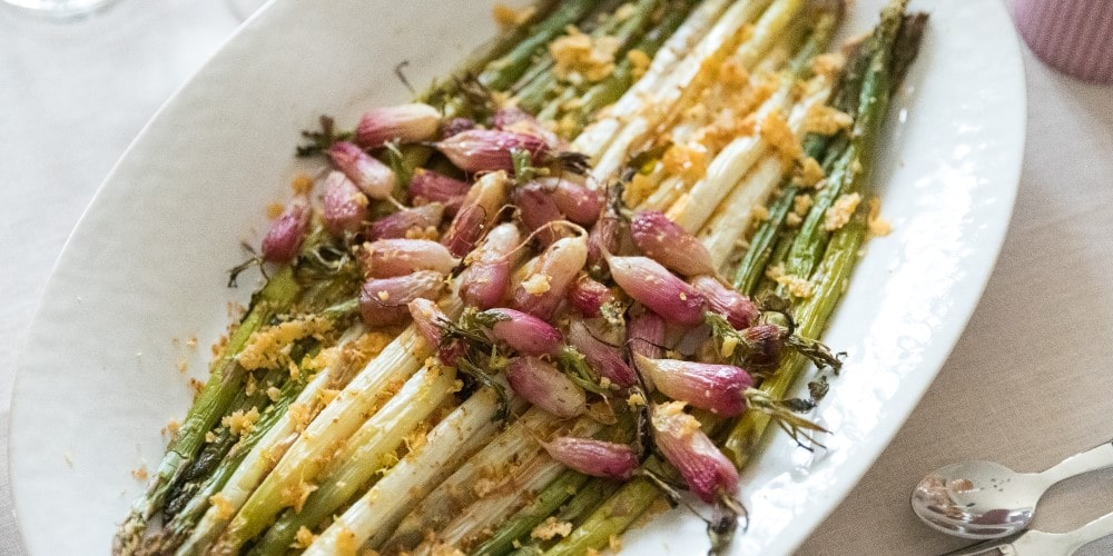 Roast radish and asparagus with lemon and cheese crumbs