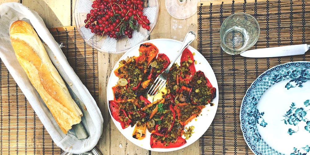 Roast peppers with anchovy, parsley, thyme and lemon crumbs