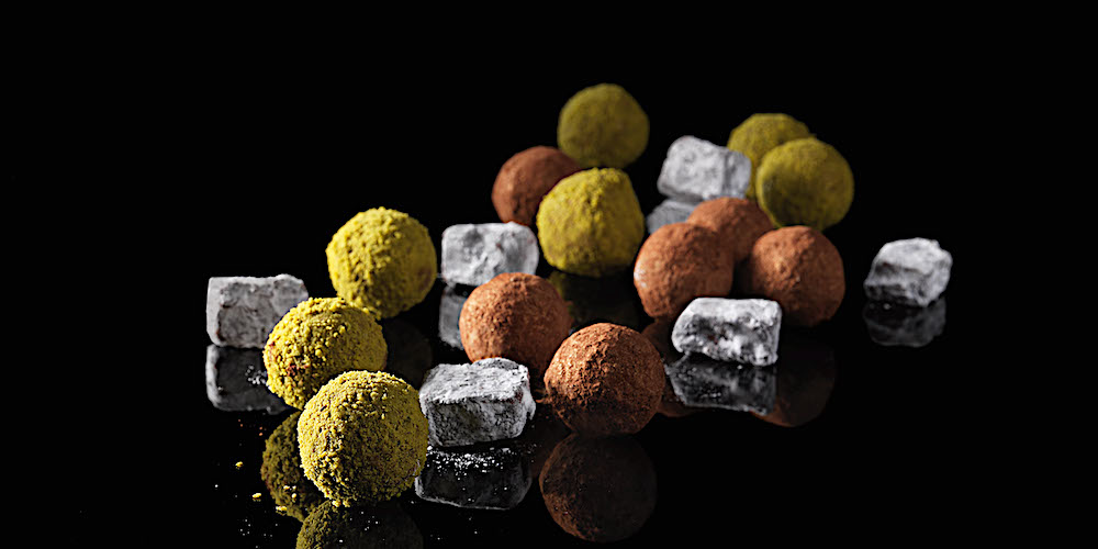 Milk chocolate and matcha green tea truffles