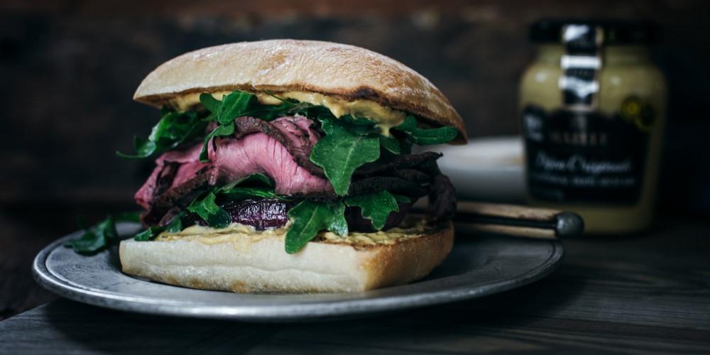 Steak and caramelised onion sandwich
