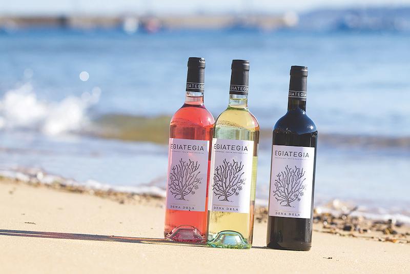 Bottles of underwater wines