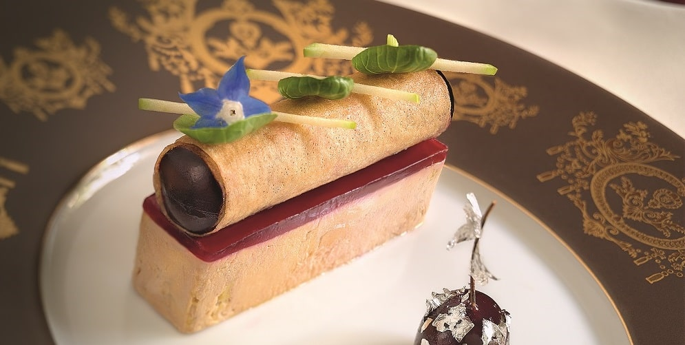Goose foie gras with cherries and hibiscus
