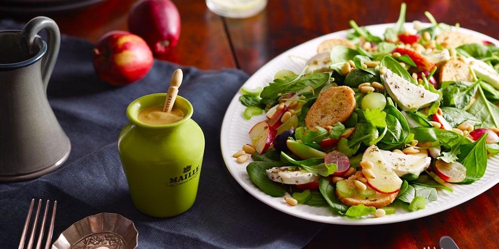 Chevre apple salad with rosemary honey mustard dressing