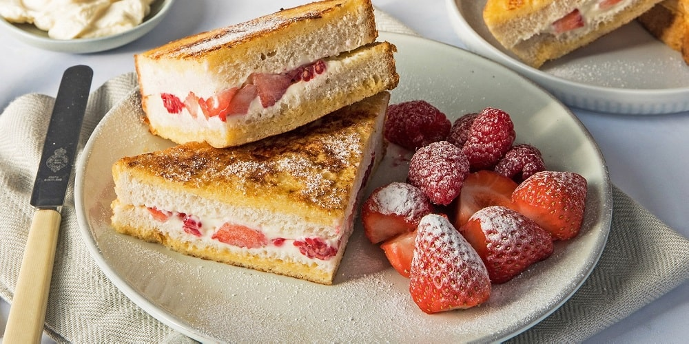 Strawberry and raspberry cream cheese French toast