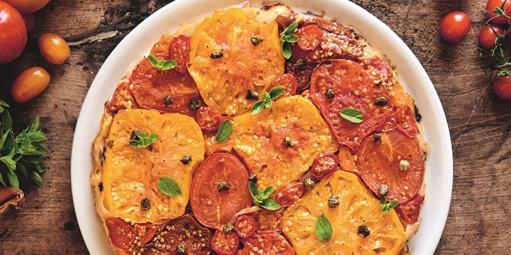 Roasted tomato and shallot tarte tatin