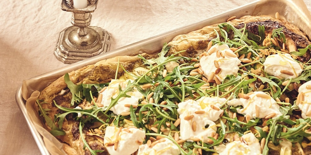 White truffle-flavored zucchini tart