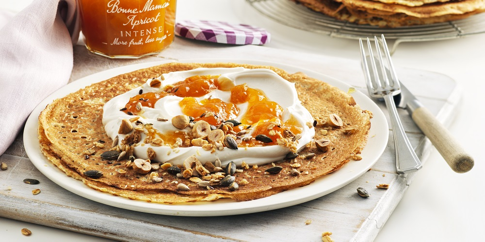Vegan Apricot Crêpes with Toasted Nuts & Seeds