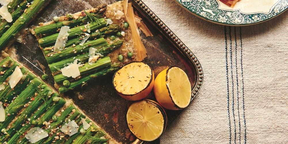 Asparagus and pea tart