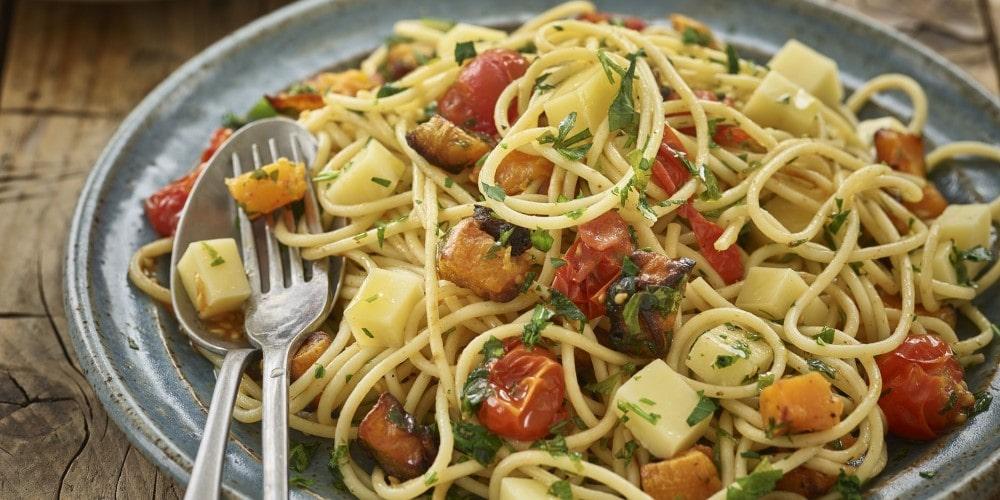 Comté, roasted butternut squash & tomato spaghetti